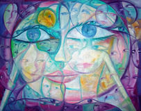 Surreal Cubist Eyes and Faces Stock Photography