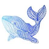 Surreal decoratieve walvis, psychedelische uitstekende stijl stock illustratie