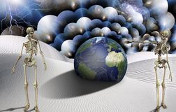 Lost planet. Surreal desert with skeletons and globe. Lightning in the sky. Multilayered space representing infinite dimensions. Some elements image credit NASA Stock Photos