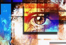 Art Sight. Surreal digital art. Human`s eye. Mondrian style. Human elements were created with 3D software and are not from any actual human likenesses stock illustration