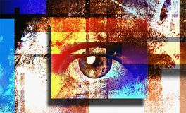 Sight. Surreal digital art. Human`s eye. Mondrian style. Human elements were created with 3D software and are not from any actual human likenesses royalty free illustration