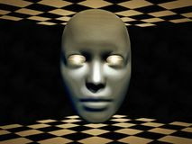 Mask. Surreal digital art. Mask with glowing eyes hovers between chessboards. Human elements were created with 3D software and are not from any actual human royalty free illustration