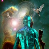 Cyborg. Surreal digital art. Naked man with electric circuit pattern on his skin stands before horse nebula in deep space. Naked men with wings represents angels Stock Image