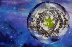 Perfect world. Surreal digital art. Planet with skyscrapers inside the bubble. Flying saucer in the space. 3D rendering Royalty Free Stock Images