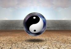 Yin-Yang. Surreal digital art. Yin-Yang inside space-bubble. Arid land. 3D rendering Stock Image