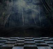 Surreal donker stadium die een donker bos overzien vector illustratie