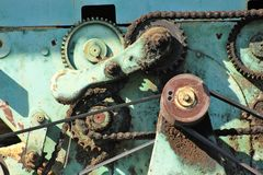 Surreal engine with v-belt and cogwheel Royalty Free Stock Photos