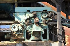Surreal engine with v-belt and cogwheel Stock Photo