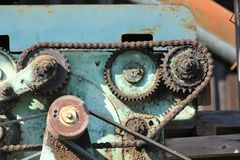 Surreal engine with v-belt and cogwheel Stock Images