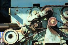 Surreal engine with v-belt and cogwheel Royalty Free Stock Photo