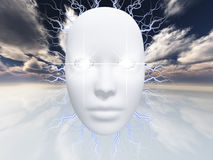Surreal face hovers in the surreal landscape Royalty Free Stock Photo