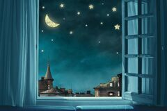 Free Surreal Fairy Tale Art Background, View From Room With Open Window, Night Sky With Moon And Stars Stock Photography - 189220942