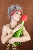 Surreal fashion futuristic woman tulip flower Royalty Free Stock Image