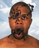 Surreal Fear, Spiders, Insects, Nightmare. Surreal man with spiders and insects crawling on him and out of his mouth. Abstract concept for fear, danger, and Stock Image