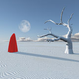 Surreal figure in desert. Surreal red clothed figure in desert Royalty Free Stock Photo