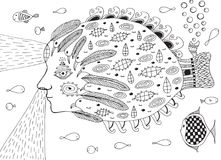 Surreal fish submarine in ocean. Doodle line fantastic illustrat. Ion Royalty Free Stock Image