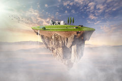 Surreal floating island with beautiful scenery Royalty Free Stock Photos