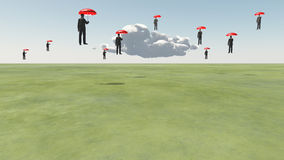 Surreal Floating Men. And Cloud Royalty Free Stock Photography