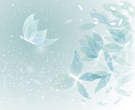 Surreal floral sketch. Winter Leaves like Snow Butterflies Stock Photos