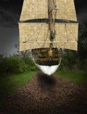 Surreal Flying Tall Sailing Ship stock photo