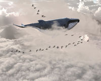 Surreal Flying Whale, Birds, Sky. A whale is flying south for the winter with a flock of geese or ducks in this surreal illustration Stock Photos
