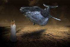 Surreal Flying Whale Fantasy, Imagination, Young Girl royalty free stock images