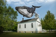 Surreal Flying Whale, Church, Religion stock images