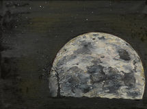 Surreal full moon, il painting Stock Photos