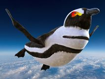Surreal Funny Flying Penguin, Bird. Surreal and funny flying penguin. The bird can fly above the clouds in the blue sky Stock Photos