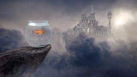 Surreal Goldfish Fantasy, Fish Bowl royalty free stock photo