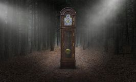 Surreal Grandfather Clock, Time, Woods, Nature. Surreal grandfather clock. The timepiece is in a dark woods or forest. Abstract concept for time, nature, and the stock image