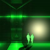 Surreal green metallic interior room with two figures of young men walk towards the light. Royalty Free Stock Image