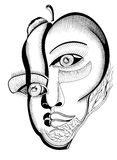 Surreal hand drawing faces Royalty Free Stock Photo