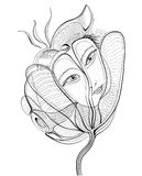 Surreal hand drawing flower with female face. Abstract graphic design, can use for posters cards, stickers, illustrations, as decorative element Royalty Free Stock Photos