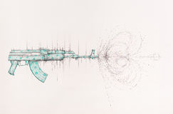 Surreal hand drawing, Kalashnikov machine gun decorative artwork Stock Photo
