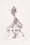Surreal hand drawing, man riding a bike sketch decorative artwork Royalty Free Stock Images