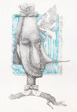 Surreal hand drawing, portrait decorative artwork  Royalty Free Stock Photo