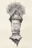 Surreal hand drawing of a small house, decorative artwork Royalty Free Stock Photography