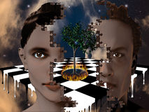 Surreal Heads. Surreal composition with puzzle piece heads Stock Image