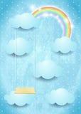 Surreal hemel met wolkenregenboog en schommeling Stock Fotografie