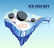 Surreal hockey rink. Vector illustration of surreal hockey rink hovering in the sky. Layered EPS 10 Royalty Free Stock Photo