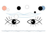 Surreal illustration, eyes-fishes, smile Royalty Free Stock Photography
