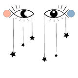 Surreal illustration, eyes, stars Stock Images