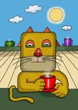 Surreal illustration of a square face cat stock image