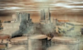 Surreal Industrial Area Royalty Free Stock Image