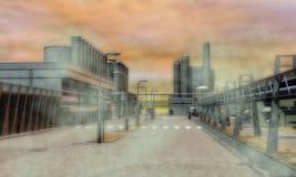 Surreal Industriezone Royalty-vrije Stock Afbeeldingen