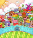 Surreal Jerusalem. Detailed, colorful illustration of surreal Jerusalem made with markers and colored pencils Stock Photo
