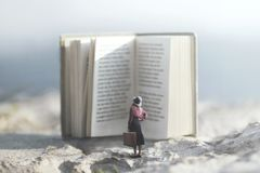 Free Surreal Journey Of A Woman Inside The Story Of An Adventurous Book Stock Images - 126998354