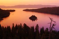 Surreal lake. Lake Tahoe Emerald bay at dusk stock photo