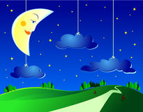 Surreal landscape. By night, with moon and clouds Stock Photos